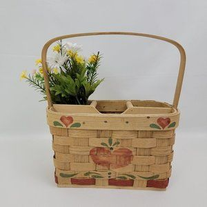 Vintage Basketville Basket Picnic Utensil Holder